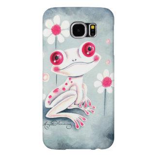 カエルのガーリーなピンクのかわいい SAMSUNG GALAXY S6 ケース