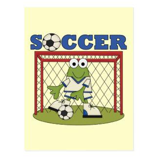 カエルのサッカーのゴールキーパーのTシャツおよびギフト ポストカード