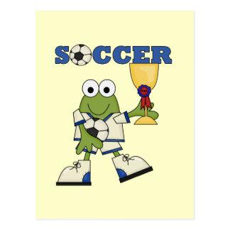 カエルのサッカーのTシャツおよびギフト ポストカード