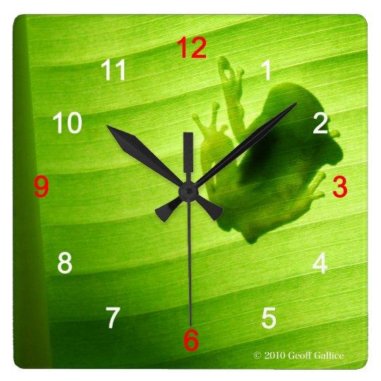 カエルのシルエットの壁掛け時計 スクエア壁時計