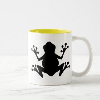 カエルのシルエット; 黄色 ツートーンマグカップ