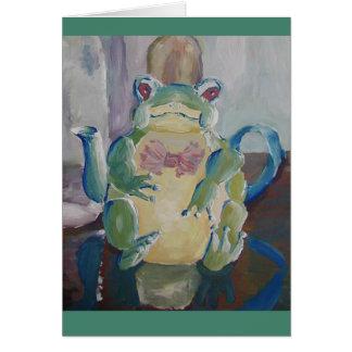カエルのティーポットの挨拶状 カード