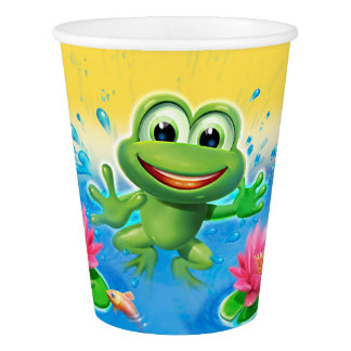 カエルのパーティーの紙コップの跳躍 紙コップ