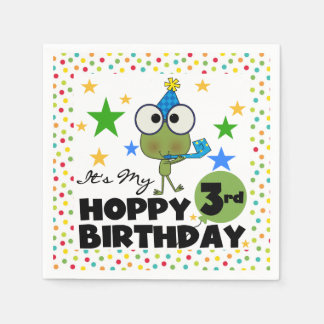 カエルのホップの豊富な第3誕生日の紙ナプキン スタンダードカクテルナプキン