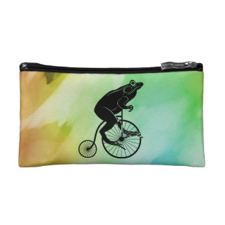 カエルの乗馬のバイクの水彩画 コスメティックバッグ