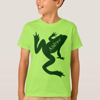 カエルの大きい深緑色のシルエット Tシャツ
