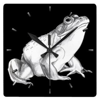 カエルの時計の牛蛙の柱時計及び野性生物の装飾 スクエア壁時計