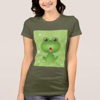 カエルの水陸両生的な緑カエルのかわいい漫画動物 Tシャツ