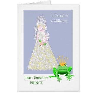 カエルの王子を持つレースのような花嫁、 カード