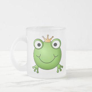 カエルの王子。 幸せなカエル フロストグラスマグカップ