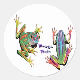 カエルの規則のステッカー ラウンドシール