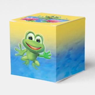 カエルの誕生会のケーキおよび好意箱の跳躍 フェイバーボックス