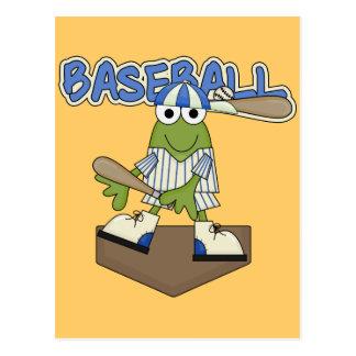 カエルの野球のホームベースのTシャツおよびギフト ポストカード