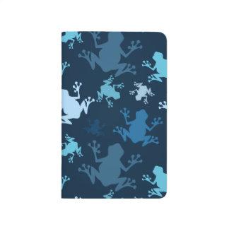 カエルパターン; 海軍、真夜中、空、空色のカエル ポケットジャーナル