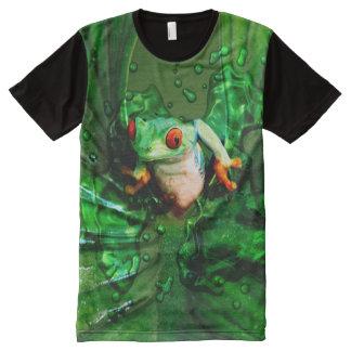 カエル4 オールオーバープリントT シャツ