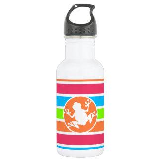 カエル; ネオンオレンジピンクの青緑のストライプ ウォーターボトル