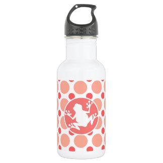 カエル; ピンク及び珊瑚の水玉模様 ウォーターボトル