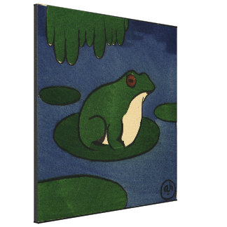 カエル-好古家、カラフルなさし絵 キャンバスプリント