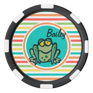 カエル; 明るい虹は縞で飾ります ポーカーチップセット