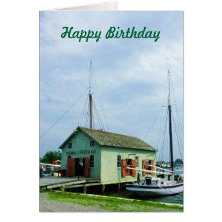 カキの掘っ建て小屋-誕生日の人によるボート カード