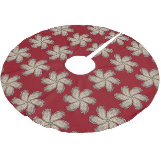 カキの花の木のスカート-デザインD ブラッシュドポリエステルツリースカート