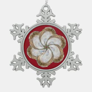 カキの花の雪片のオーナメント-デザインC スノーフレークピューターオーナメント