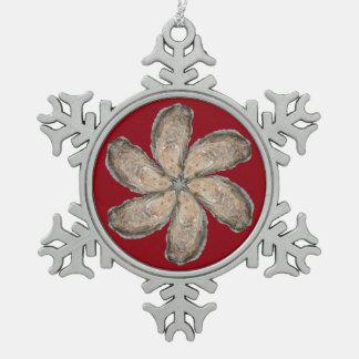 カキの花の雪片のオーナメント-デザインD スノーフレークピューターオーナメント
