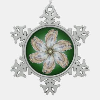 カキの花の雪片のオーナメント-緑を設計して下さい スノーフレークピューターオーナメント