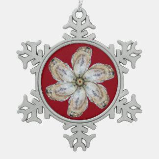 カキの花の雪片のオーナメント- Aを設計して下さい スノーフレークピューターオーナメント