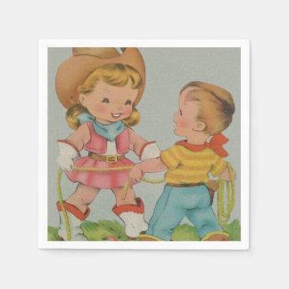 カクテルのナプキンを遊んでいるヴィンテージの子供 スタンダードカクテルナプキン