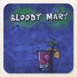カクテルパーティーのコースターのコレクション-血メリー スクエアペーパーコースター