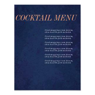 カクテルメニュー、飲み物メニュー、濃紺の結婚式セット 10.8 X 14 インビテーションカード