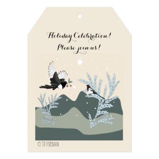 カササギのクリスマス5x7の招待状のラベル カード