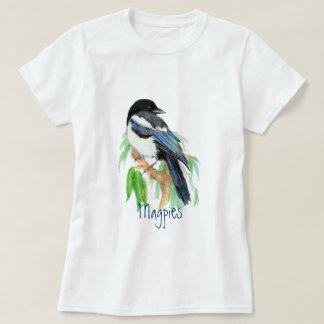 カササギ、鳥、庭、自然、野性生物 Tシャツ