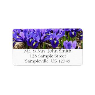 カサリンHodgkinは青い紫色の春の花柄を絞ります 宛名ラベル