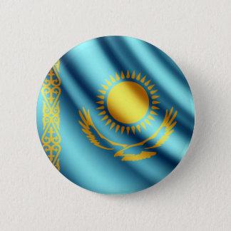 カザフスタンの振る旗のpinbackボタン 缶バッジ