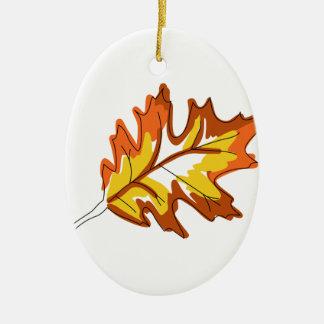 カシの秋の葉 セラミックオーナメント