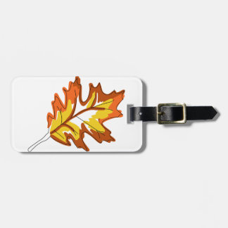 カシの秋の葉 ラゲッジタグ