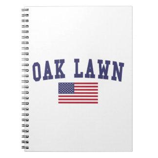 カシの芝生米国の旗 ノートブック