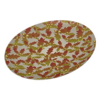 カシの葉およびドングリパターンプレート プレート