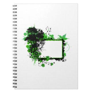 カシフレームの緑n黒いwの鳥 ノートブック