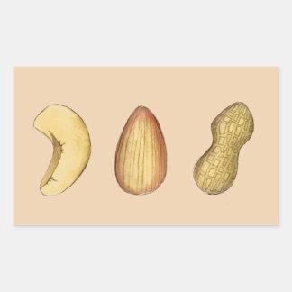 カシュー、アーモンド、ピーナツナットのナッツ味のくだらないステッカー 長方形シール