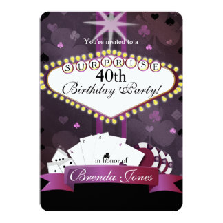 カジノのベガスのスタイルの誕生日の招待状 カード