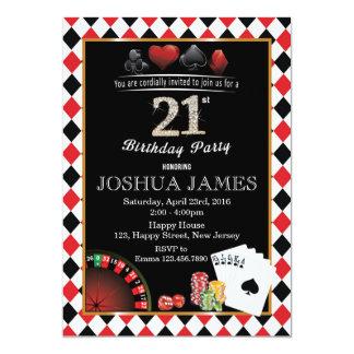 カジノの第21誕生日の招待状 カード