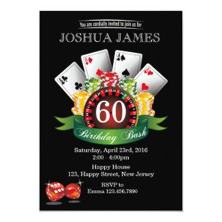 カジノの第60誕生日の招待状-年齢 カード