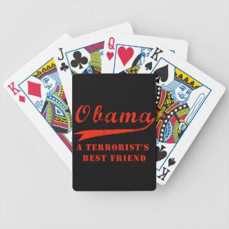 カジノカードを遊んでいるオバマのテロリストの親友 バイスクルトランプ