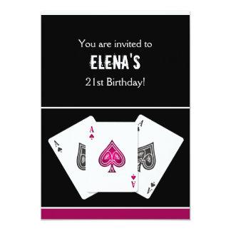 カジノ夜パーティの招待状のピンク カード