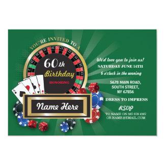 カジノ夜誕生日のラスベガスのルーレットの招待 カード