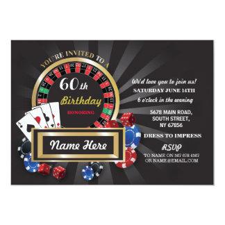 カジノ夜誕生日のラスベガスの招待のパーティー カード