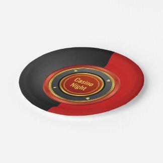 カジノ夜赤くおよび黒いポーカー用のチップ ペーパープレート